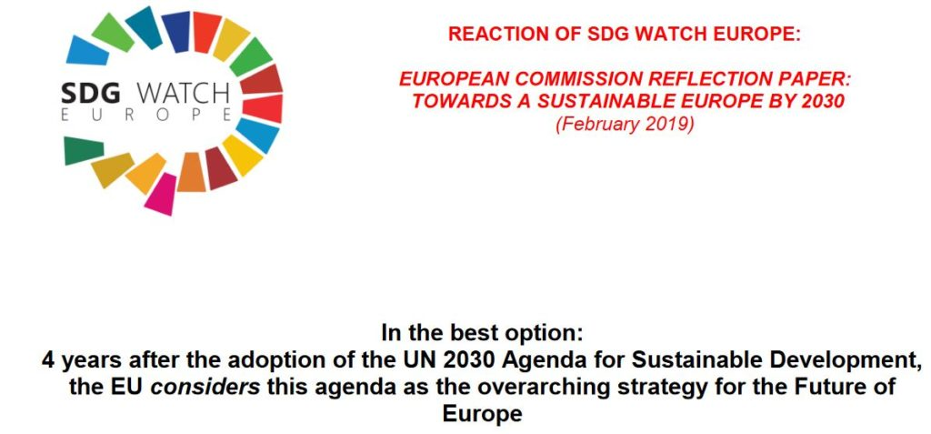 """REACTION OF SDG WATCH EUROPE on EUROPEAN COMMISSION REFLECTION PAPER """"TOWARDS A SUSTAINABLE EUROPE BY 2030"""""""